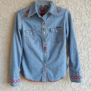 Lucky Embroidered Chambray Top